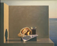 still life with bread and wine by david ligare