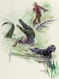 crocodile hunter, roto magazine story illustration by john walter scott
