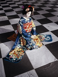 the love doll/day 32 (blue geisha, black & white room) by laurie simmons