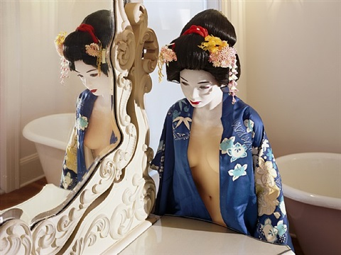 """the love doll/day 34 (blue geisha, dressing room)"" by laurie simmons"