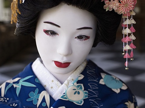 the love doll/day 32 (blue geisha close-up) by laurie simmons