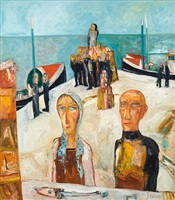 eyemouth fisherfolk at work by john bellany