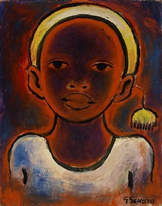 head of a girl with pompon by gerard sekoto