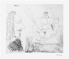 courtisane au lit aven un visiteur, from the 347 series, 10 may, 1968, mougins by pablo picasso