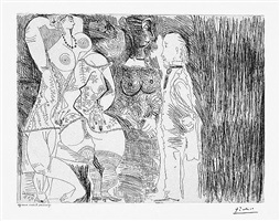 degas imaginant. secen de seduction entre deux filles, avec matrone hypocrite, from the 156 series, 2 april by pablo picasso