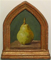 single pear on a green background—not for sale by robert kulicke