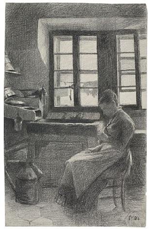 femme dans sa cuisine – la mère de l'artiste dans la cuisine by félix edouard vallotton