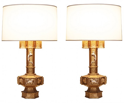 a pair of carved plaster lamps by james mont, new york, circa 1940s by james mont