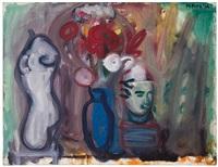 flowers in a blue vase by robert de niro, sr.