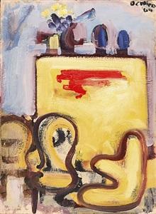 studio interior with three chairs and yellow bureau by robert de niro, sr.