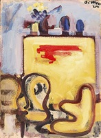 studio interior with three chairs and yellow bureau by robert de niro, sr.