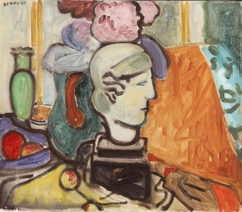 studio still life with head of woman by robert de niro, sr.