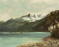 le lac léman et les dents du midi by gustave courbet