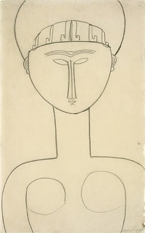 caryatid, frontal view by amedeo modigliani