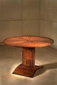 guéridon à plateau basculant modèle lambiotte en palissandre et bronze doré reposant sur un pied en doucine by émile jacques ruhlmann