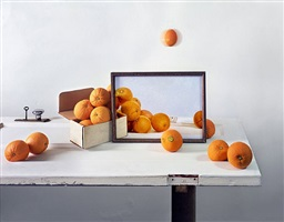 oranges, box and painting on door by john chervinsky