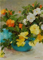 yellow pansies with blue glass (sold) by kathy anderson