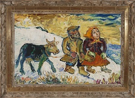peasant couple with cow by david davidovich burliuk