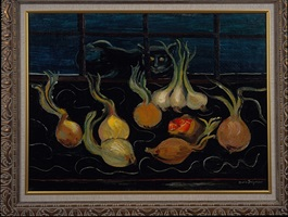 still life with cat and onions by boris dmitrievich grigoriev