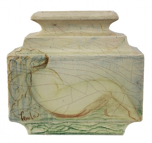 """unique french art deco ceramic vase, """"the dance"""" by raoul lachenal"""