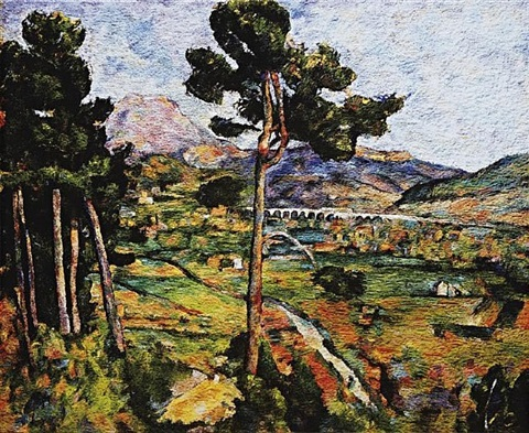mont sainte-victoire and the viaduct of the arc river valley (after cezanne, 1882-85) by vik muniz