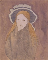 little girl with a large hat and straw-colored hair by gwen john