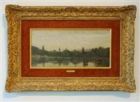 bords d'une riviere avec deux clochers emergeant des arbres by jean-baptiste-camille corot