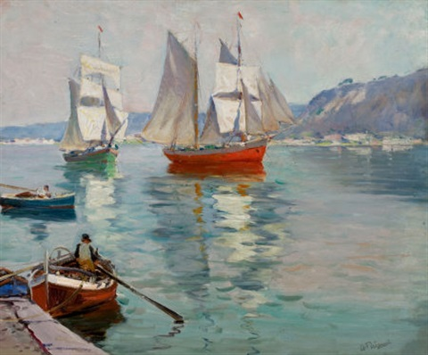 boats off the coast by anthony thieme