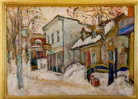 snow-covered street by abraham manievich