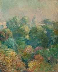 tree tops from boulevard raspail, paris by edmund william greacen