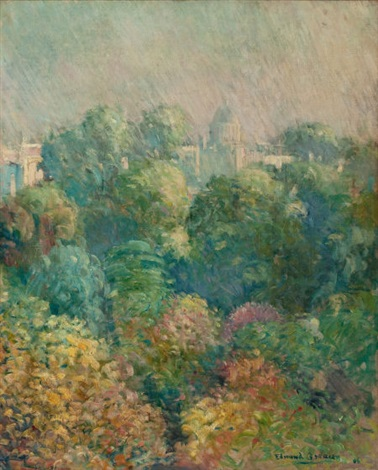 tree tops from boulevard raspail paris by edmund william greacen