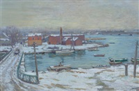 winter, cos cob, connecticut, from the bush-holly house looking north over the inlet by charles morris young
