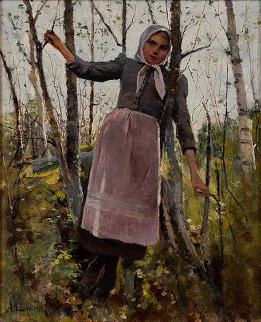 GIRL IN BIRCH FOREST by Amélie Lundahl on artnet