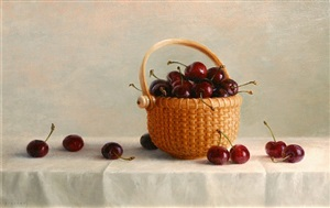nantucket basket with cherries (sold) by cindy procious