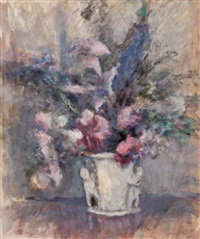 pink and blue flowers by edmund william greacen