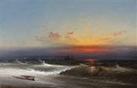 evening on the seashore (sunset breakers philadelphia harbor) by james hamilton