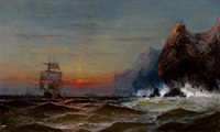 rounding the cape, sunset by james hamilton