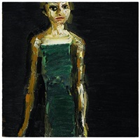 figure, green dress by thomas newbolt