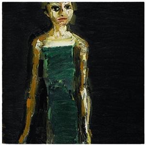 figure, green dress by thomas newbolt