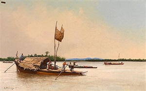 on the mekong river by françois-jacques-marie-maurice destappe
