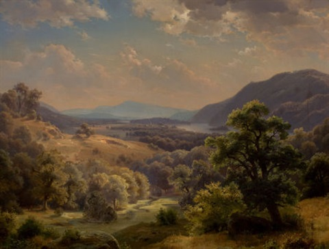 extensive landscape with valley and mountains the susquehanna valley by paul weber