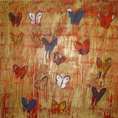 red butterflies by hunt slonem