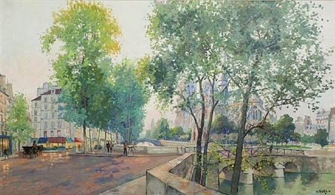 seine river with notre dame by constantine kluge