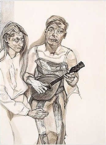 two figures from 'large interior w11 (after watteau)' by lucian freud