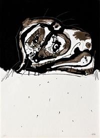 perro de goya (28/60) (portfolio of 4 pieces) by antonio saura
