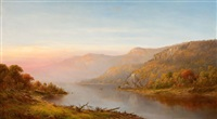 mountain river scene (autumn of the hudson) by charles wilson knapp