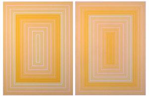 on yellow - warm rectangle & on yellow - cool rectangle by richard anuszkiewicz