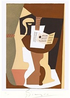 (after picasso) guitare et partition sur gueridon by pablo picasso