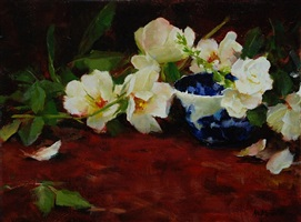 roses, freesia and english blue (sold) by kathy anderson
