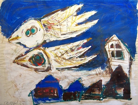 birds over the village by karel appel